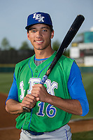 Marten Gasparini (16) of the Lexington Legends poses for a photo prior to the game against the Hickory Crawdads at L.P. Frans Stadium on April 29, 2016 in Hickory, North Carolina.  The Crawdads defeated the Legends 6-2.  (Brian Westerholt/Four Seam Images)