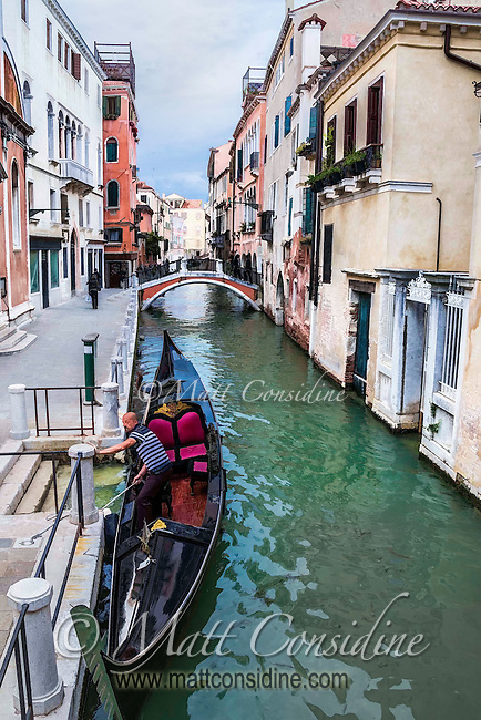 An iconic scene of a gondolier docking in Venice. Painted Effect. (Photo by Travel Photographer Matt Considine)