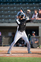 Grand Junction Rockies center fielder Daniel Montano (2) at bat during a Pioneer League game against the Missoula Osprey at Ogren Park Allegiance Field on August 21, 2018 in Missoula, Montana. The Missoula Osprey defeated the Grand Junction Rockies by a score of 2-1. (Zachary Lucy/Four Seam Images)