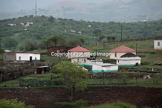 NKANDLA, SOUTH AFRICA - OCTOBER 9: An overview of houses  close to South Africa president Jacob Zuma's new private residence in his birth village on October 9, 2012 in KwaNxamalala, Nkandla. South Africa.  The South African government is spending R240-million (about US$ 27 million) to construct the vast property for his large family. (Photo by Per-Anders Pettersson)