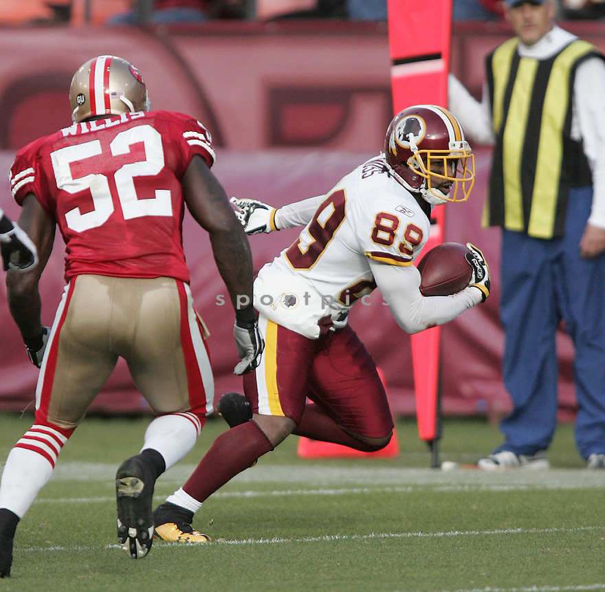 SANTANA MOSS, of the Washington Redskins , in action  during the 49ers game against the  San Francisco 49ers  on December 28, 2008 in San Francisco, CA...49ers win 27-24