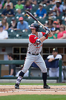 Blake Lalli (15) of the Gwinnett Braves at bat against the Charlotte Knights at BB&T BallPark on May 22, 2016 in Charlotte, North Carolina.  The Knights defeated the Braves 9-8 in 11 innings.  (Brian Westerholt/Four Seam Images)