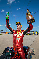 Jun 2, 2019; Joliet, IL, USA; NHRA pro stock motorcycle rider Matt Smith celebrates after winning the Route 66 Nationals at Route 66 Raceway. Mandatory Credit: Mark J. Rebilas-USA TODAY Sports