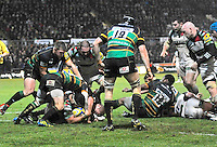Northampton, England. James Johnston of Harlequins held up on the try line during the Aviva Premiership match between Northampton Saints and Harlequins at Franklin's Gardens on December 22. 2012 in Northampton, England.