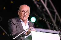 Graham Wylie speaks to the crowd at the evening event of the Graham Wylie Foundation- Have A Heart- golf day with Lee Westwood and Ronan Keating at Close House Golf Club, Heddon on the wall, England on 10 September 2018. Photo by Thomas Gadd.