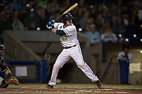 Hillsboro Hops catcher Zachary Jones (40) at bat during a Northwest League game against the Salem-Keizer Volcanoes at Ron Tonkin Field on September 1, 2018 in Hillsboro, Oregon. The Salem-Keizer Volcanoes defeated the Hillsboro Hops by a score of 3-1. (Zachary Lucy/Four Seam Images)