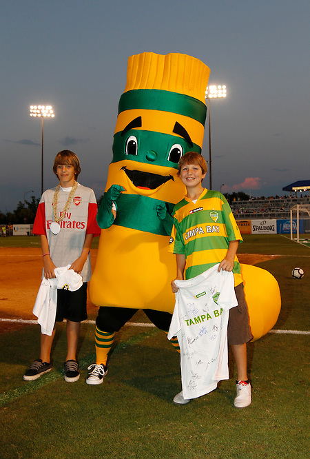 May 27, 2010; TAMPA, FLORIDA: The FC Tampa Bay Rowdies mascot with birthday guests at halftime during a 3-1 victory over the Minnesota Stars at Steinbrenner Field in Tampa, Florida. Photo by Matt May/FC Tampa Bay Rowdies