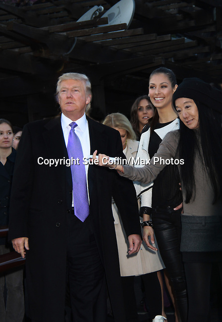 Donald Trump, Dayana Mendoza, Vera Wang at the 2012 Skating with the Stars - a benefit gala for Figure Skating in Harlem celebrating 15 years on April 2, 2012 at Central Park's Wollman Rink, New York City, New York.  (Photo by Sue Coflin/Max Photos)