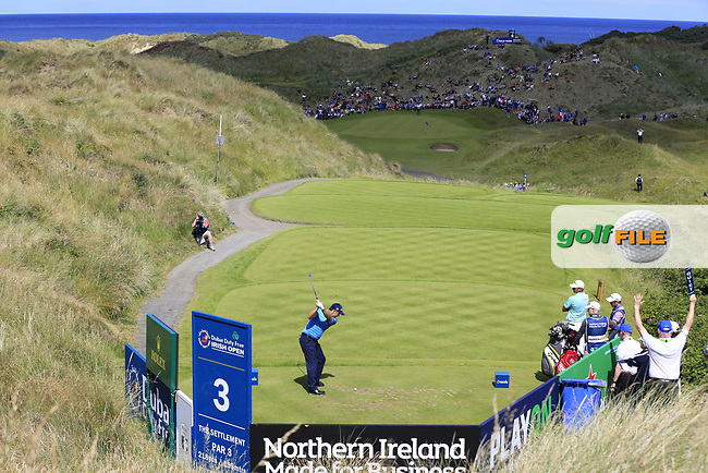 Padraig Harrington (IRL) tees off the par3 3rd tee during Saturday's Round 3 of the 2017 Dubai Duty Free Irish Open held at Portstewart Golf Club, Portstewart, Co Derry, Northern Ireland. 08/07/2017<br /> Picture: Golffile | Eoin Clarke<br /> <br /> <br /> All photo usage must carry mandatory copyright credit (&copy; Golffile | Eoin Clarke)