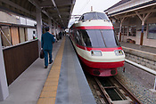 A train at the Yudanaka Station, Nagano.