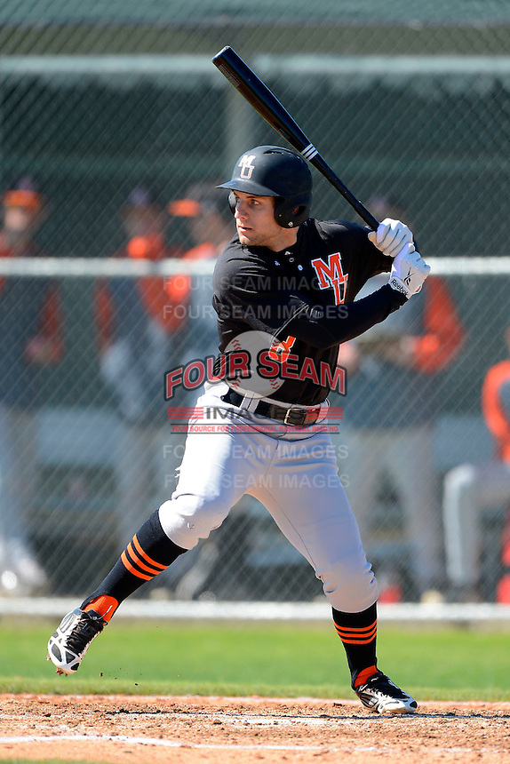 Mercer Bears outfielder Sasha LaGarde #8 during a game against the Notre Dame Fighting Irish at the Buck O'Neil Complex on February 17, 2013 in Sarasota, Florida.  Mercer defeated Notre Dame 5-4.  (Mike Janes/Four Seam Images)