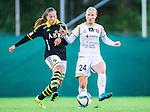 Solna 2015-10-11 Fotboll Damallsvenskan AIK - FC Roseng&aring;rd :  <br /> Roseng&aring;rds Ebba Wieder i kamp om bollen med AIK:s Filippa Angeldahl under matchen mellan AIK och FC Roseng&aring;rd <br /> (Foto: Kenta J&ouml;nsson) Nyckelord:  Damallsvenskan Allsvenskan Dam Damer Damfotboll Skytteholm Skytteholms IP AIK Gnaget  FC Roseng&aring;rd
