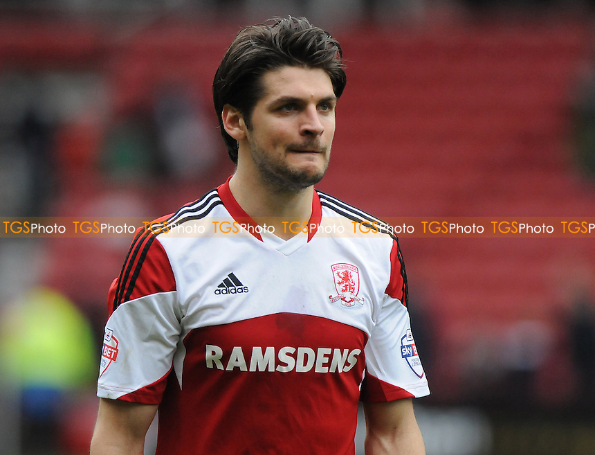 George Friend of Middlesbrough - Middlesbrough vs Derby County - Sky Bet Championship Football at the Riverside Stadium, Middlesbrough - 05/04/14 - MANDATORY CREDIT: Steven White/TGSPHOTO - Self billing applies where appropriate - 0845 094 6026 - contact@tgsphoto.co.uk - NO UNPAID USE