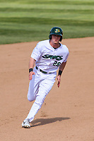 Beloit Snappers outfielder Anthony Churlin (26) runs to third base during a Midwest League game against the Cedar Rapids Kernels on June 2, 2019 at Pohlman Field in Beloit, Wisconsin. Beloit defeated Cedar Rapids 6-1. (Brad Krause/Four Seam Images)