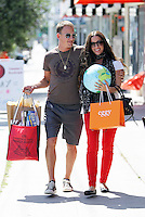 Alanis Morissette and husband Souleye alias Mario Treadway seen shopping on 3rd Street at the eco friendly kids store Eggy and and a store where they bought a Guillows Flying Toy Airplane with flashing lights and a beach ball. If the plane is for Mario or for their 1 year old son_Ever....? Los Angeles, California on 16.05.2012.Credit: Vida/face to face /MediaPunch Inc. ***FOR USA ONLY***