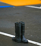 A pair of rain boot found in a parking lot in Mill Valley, California.