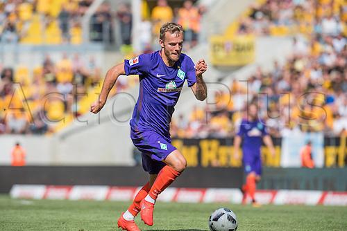 30.07.2016. Dresden, Germany, Dresden Cup pre-season football tournament, Dynamo Dresden versus Werder Bremen.  Lennart Thy (Bremen 11)  breaks towards goal