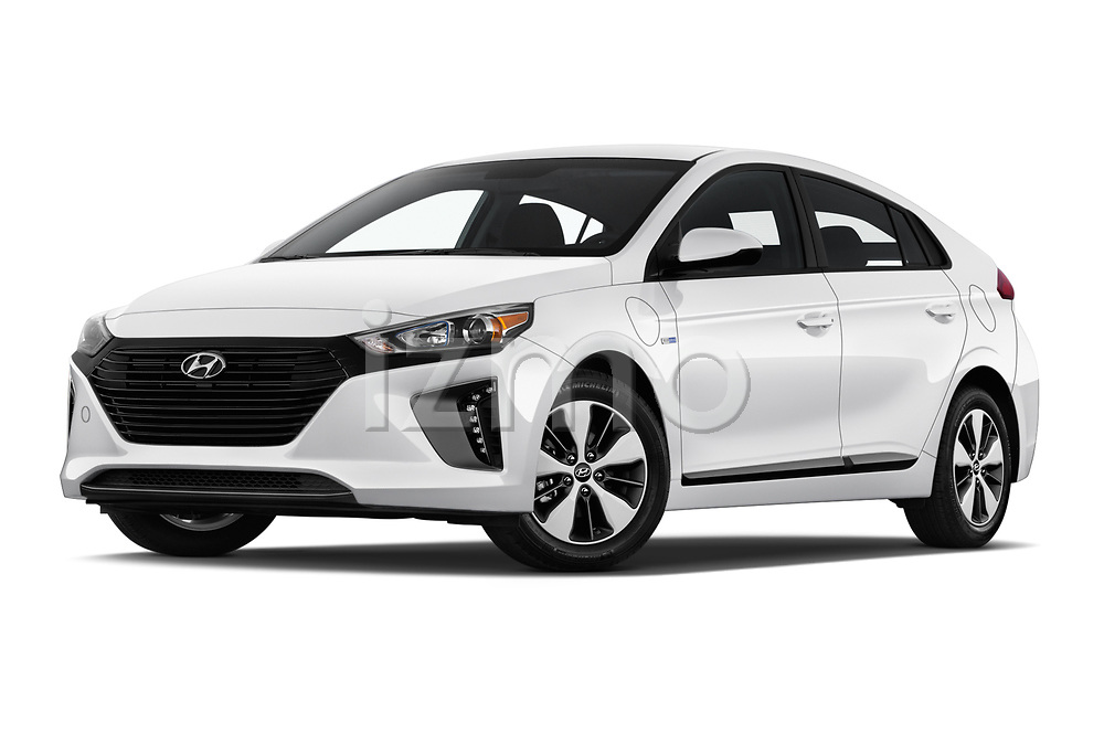 Stock pictures of low aggressive front three quarter view of a 2019 Hyundai Ioniq Plug-In Hybrid Base 5 Door Hatchback