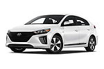 Stock pictures of low aggressive front three quarter view of a 2018 Hyundai Ioniq Plug-In Hybrid Base 5 Door Hatchback