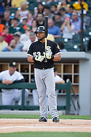 Melky Cabrera (53) of the Chicago White Sox gets ready to step up to the plate against the Charlotte Knights at BB&T Ballpark on April 3, 2015 in Charlotte, North Carolina.  The Knights defeated the White Sox 10-2.  (Brian Westerholt/Four Seam Images)