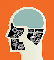 Construction workers working on cogs inside of male head
