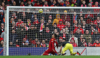 1st February 2020; Anfield, Liverpool, Merseyside, England; English Premier League Football, Liverpool versus Southampton; Shane Long of Southampton collides with Roberto Firmino of Liverpool as Firmino attempts to score