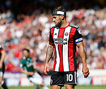 Billy Sharp of Sheffield Utd with bandaged head during the English Championship League match at Bramall Lane Stadium, Sheffield. Picture date: August 5th 2017. Pic credit should read: Simon Bellis/Sportimage