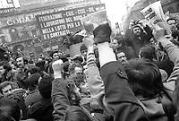 - Milano, 12 febbraio 1976, sciopero generale, contestazione al comizio di Bruno Storti, segretario generale del sindacato CISL <br /> <br /> - Milan, February 12, 1976, general strike, protest against speech of  Bruno Storti, general secretary of the CISL syndicate