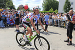 Polka Dot Jersey holder Nathan Brown (USA) Cannondale Drapac arrives at sign on in Mondorf-les-Bains before the start of Stage 4 of the 104th edition of the Tour de France 2017, running 207.5km from Mondorf-les-Bains, Luxembourg to Vittel, France. 4th July 2017.<br /> Picture: Eoin Clarke | Cyclefile<br /> <br /> <br /> All photos usage must carry mandatory copyright credit (&copy; Cyclefile | Eoin Clarke)