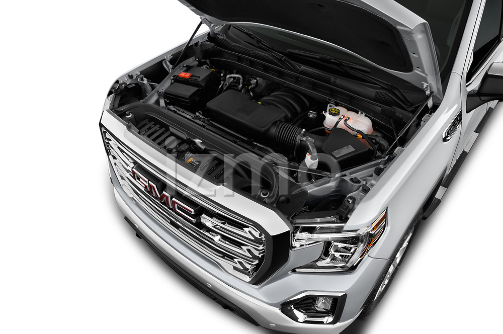 Car stock 2019 GMC Sierra 1500 SLT 4 Door Pick Up engine high angle detail view