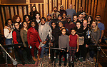 The cast and creative team from the Broadway revival of 'Once on This Island' in the recording studio for the new Broadway cast recording with Broadway Records at Power Station on December 21, 2017 in New York City.