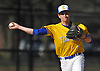Thomas Paulich #4, Kellenberg third baseman, throws a across the diamond in the top of the fourth inning of a Nassau-Suffolk CHSAA varsity baseball game against St. John the Baptist at Eisenhower Park on Tuesday, April 18, 2017. He drove in two runs in Kellenberg's 6-2 win.