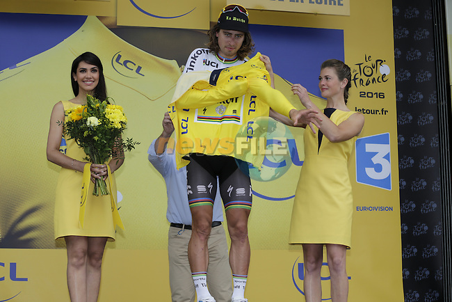 Race leader Peter Sagan (SVK) Tinkoff retains the leader's Yellow Jersey at the end of Stage 3 of the 2016 Tour de France, running 223.5km from Granville to Angers, France . 4th July 2016.<br /> Picture: Eoin Clarke | Newsfile<br /> <br /> <br /> All photos usage must carry mandatory copyright credit (&copy; Newsfile | Eoin Clarke)