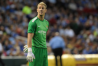 Joe Hart, Manchester City goalkeeper looks up at the scoreboard screen..Manchester City defeated Chelsea 4-3 in an international friendly at Busch Stadium, St Louis, Missouri.