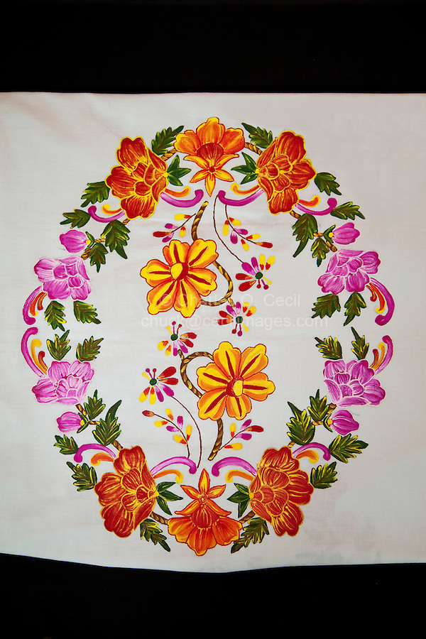 Indian Handicrafts, Flower Painting on Fabric.  Dehradun, Uttarakhand, India.