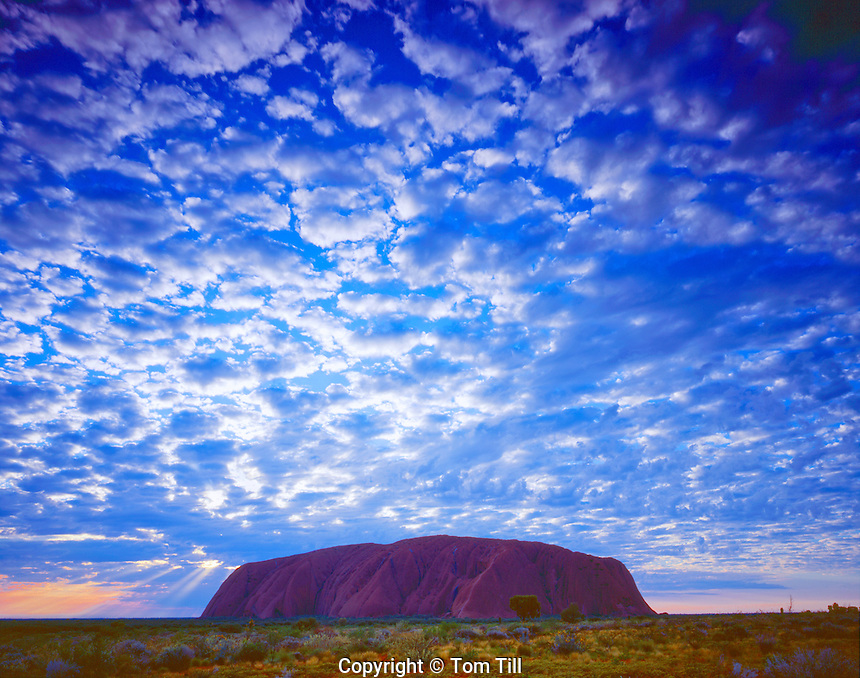 Ayers Rock and Morning Clouds, Uluru National Park, Red Centre of Northern Territory, Australia