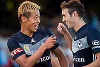 Sydney, November 25, 2018 - Keisuke Honda of the Melbourne Victory celebrates his goal during the Melbourne Victory and Sydney FC round 5 match at Jubilee Oval in Sydney, Australia.
