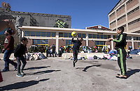Pictured: Young boys playing with a ball Thursday 03 March 2016<br />