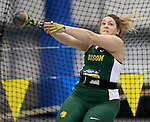 BROOKINGS, SD - FEBRUARY 24:  Katelyn Weimerskirch from North Dakota State eyes her target during the women's weight throw Friday afternoon at the Summit League Indoor Championships in Brookings, SD. (Photo by Dave Eggen/Inertia)