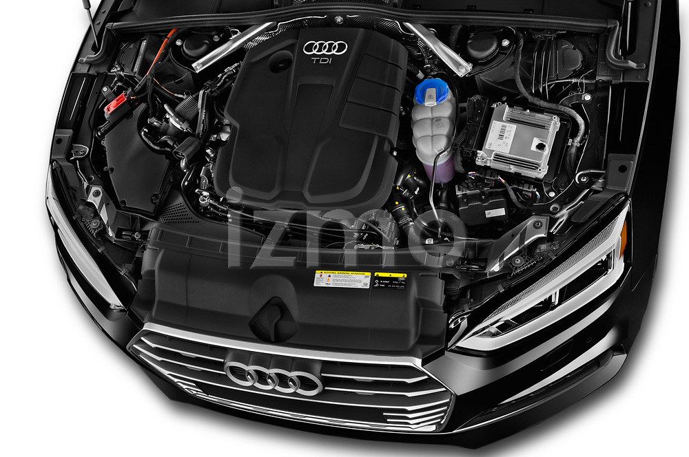 Car Stock 2019 Audi A5-Sportback Premium 5 Door Hatchback Engine  high angle detail view