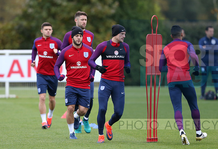 England's Jack Wilshere and Jamie Vardy during training at Tottenham Hotspur training centre, London. Picture date November 14th, 2016 Pic David Klein/Sportimage