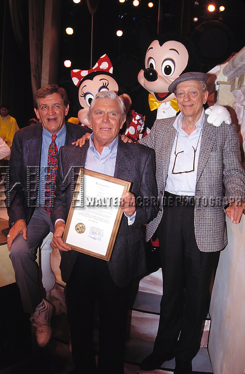 Andy Griffith, George Lindsey and Don Knotts with Mickey & Minnie Mouse attending an ANDY GRIFFITH SHOW Reunion at the Disney MGM Studios, Walt Disney World Theme Park in Orlando, Florida. August 11, 1992