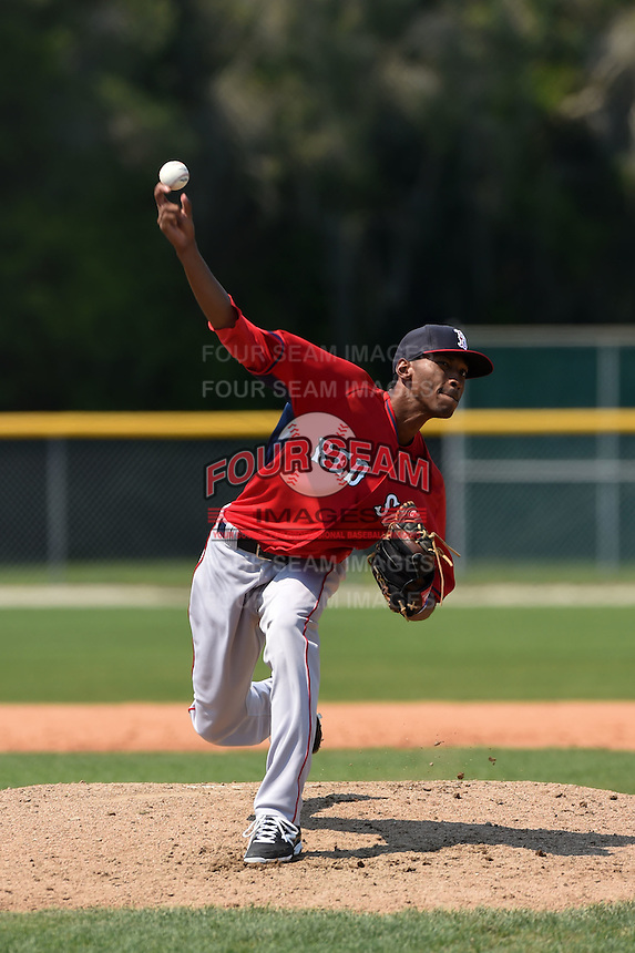 Boston Red Sox pitcher Sergio Gomez (77) during a minor league spring training game against the Baltimore Orioles on March 20, 2015 at Buck O'Neil Complex in Sarasota, Florida.  (Mike Janes/Four Seam Images)