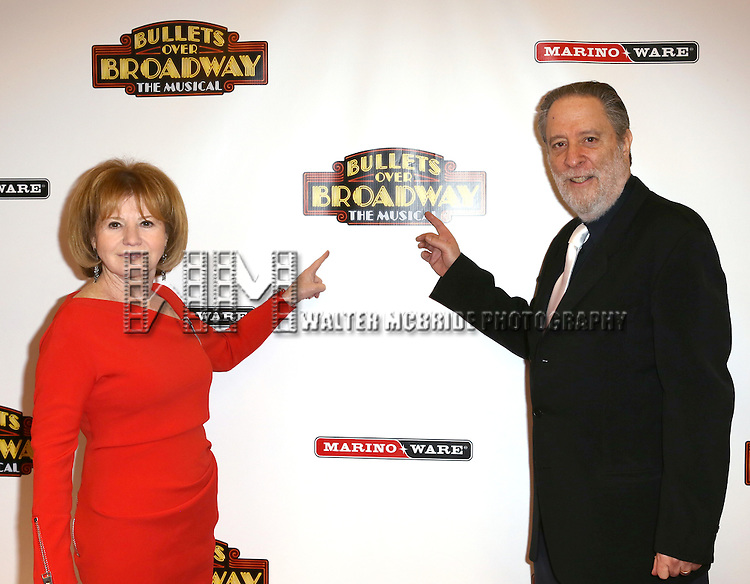 Producers Letty Aaronson and Julian Schlossberg attending the Broadway Opening Night Performance of ''Bullets Over Broadway' at the St. James Theatre on April 10, 2014 in New York City.