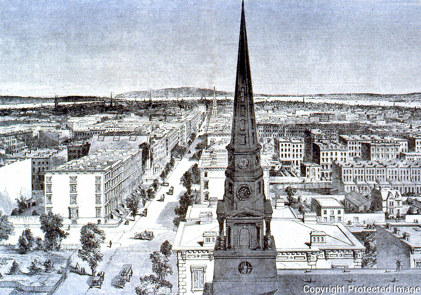 New York: 1859-- Looking down Fifth Ave. from 37th Street.  New brick church in foreground.  From photo by Brody.