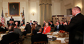 Governor Matt Mead (Republican of Wyoming) asks United States President Barack Obama a question as the President takes questions from the National Governors Association in the State Dining Room of the White House in Washington, DC on February 22,2016.<br /> Credit: Dennis Brack / Pool via CNP