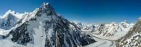 Broad Peak and K2 Glacier. Karakoram range, Pakistan