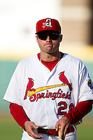 Chris Swauger (28) of the Springfield Cardinals walks to the dugout prior to a game against the Northwest Arkansas Naturals at Hammons Field on June 14, 2012 in Springfield, Missouri. (David Welker/Four Seam Images)
