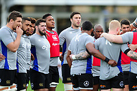 The Bath Rugby team huddle together during the pre-match warm-up. European Rugby Challenge Cup Quarter Final, between Bath Rugby and CA Brive on April 1, 2017 at the Recreation Ground in Bath, England. Photo by: Patrick Khachfe / Onside Images
