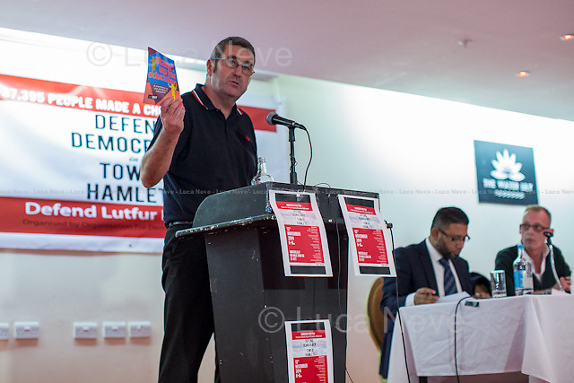 Alex Kenny (National Union of Teachers NUT Executive member). <br /> <br /> London, 12/11/2014. Today, an &quot;emergency meeting&quot; was called in Tower Hamlets to discuss the ongoing dispute between the Secretary of State for Communities and Local Government Erick Pickles (Conservative Member of Parliament for Brentwood) and the twice elected Mayor of Tower Hamlets Lutfur Rahman. Less than 2 weeks ago Pickles defined Tower Hamlets as a &lt;&lt;rotten borough&gt;&gt; and &lt;&lt;told the Commons that Rahman had dispensed public money like a &quot;medieval monarch&quot; and oversaw an administration that was &quot;at best dysfunctional, at worst riddled with cronyism and corruption&quot;&gt;&gt; (source the Guardian http://bit.ly/1x1u7Z2). So the Communities Secretary decided to take over the administration of the East London council for the next two years actually commissioning the Council. From the press release of the organisers of the meeting: &lt;&lt;Eric Pickles this week ordered his attack dogs into Tower Hamlets despite his own report finding no evidence of fraud and corruption. His councils and government are ridden with corruption- it's not fairness he cares about but undermining our community. The Tories hate Tower Hamlets because it stood alone in putting residents before big business and funding our future&gt;&gt;.<br /> <br /> To sign the petition please click here: http://chn.ge/1xyLf8x